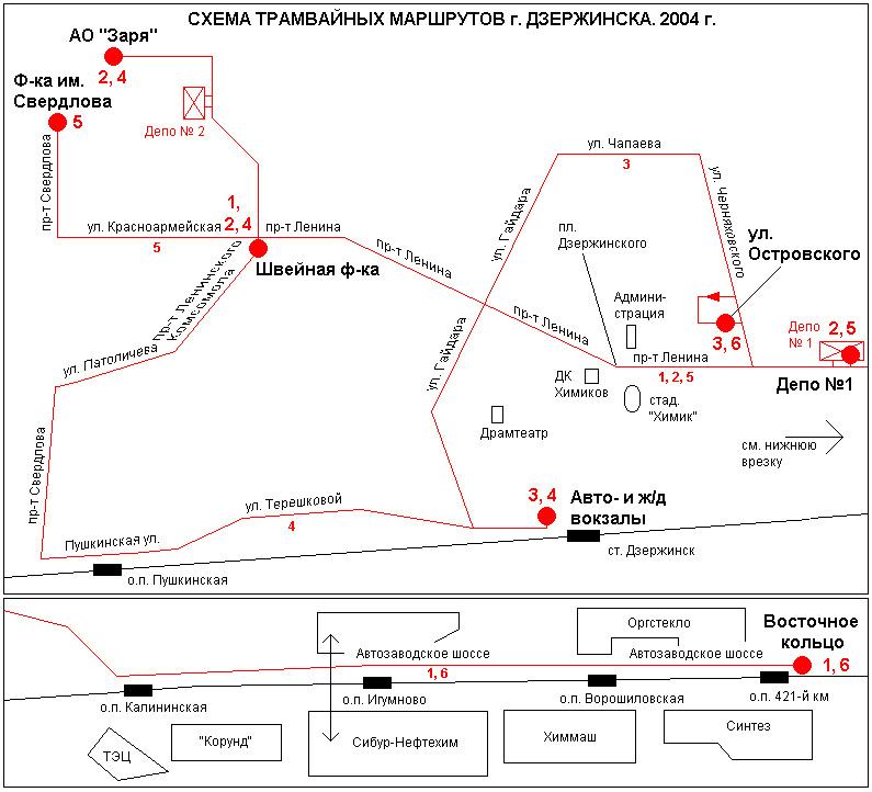 Схема трамвайных маршрутов г.