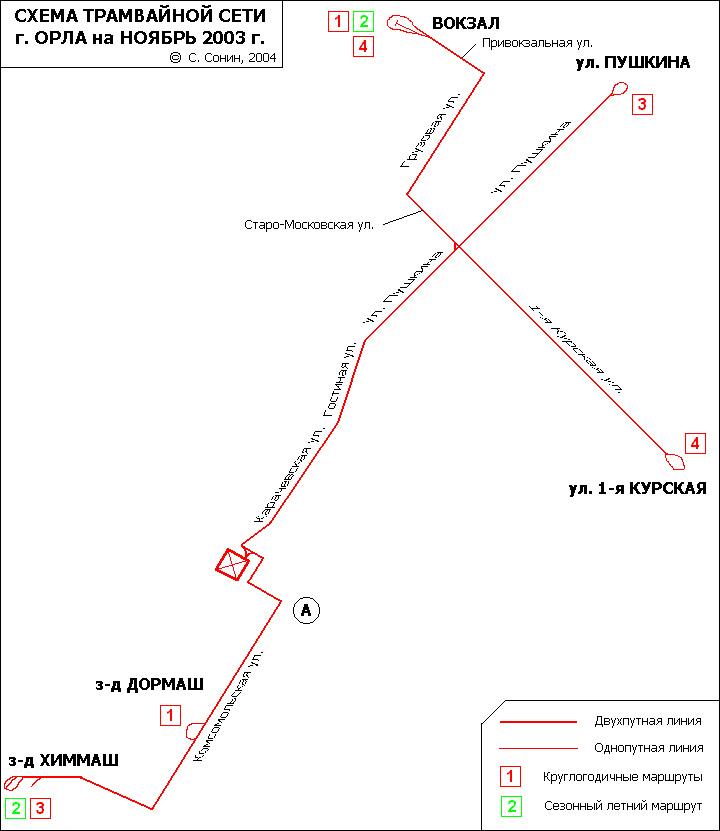 Схема трамвайных маршрутов Орла.