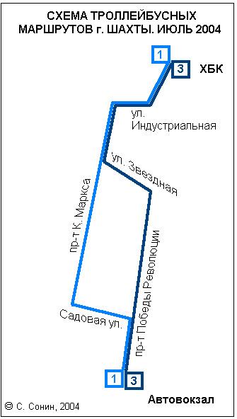 Схема троллейбусных маршрутов г. Шахты.